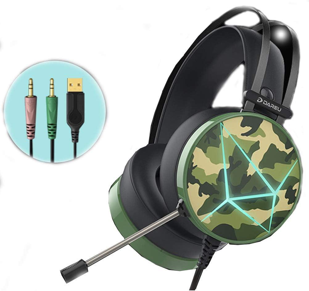 VISZC Gaming Headset pc -Auriculares para Juegos (Adaptador no Incluido) Cancelación de Ruido Bajo Envolvente sobre Oreja Una PC-2