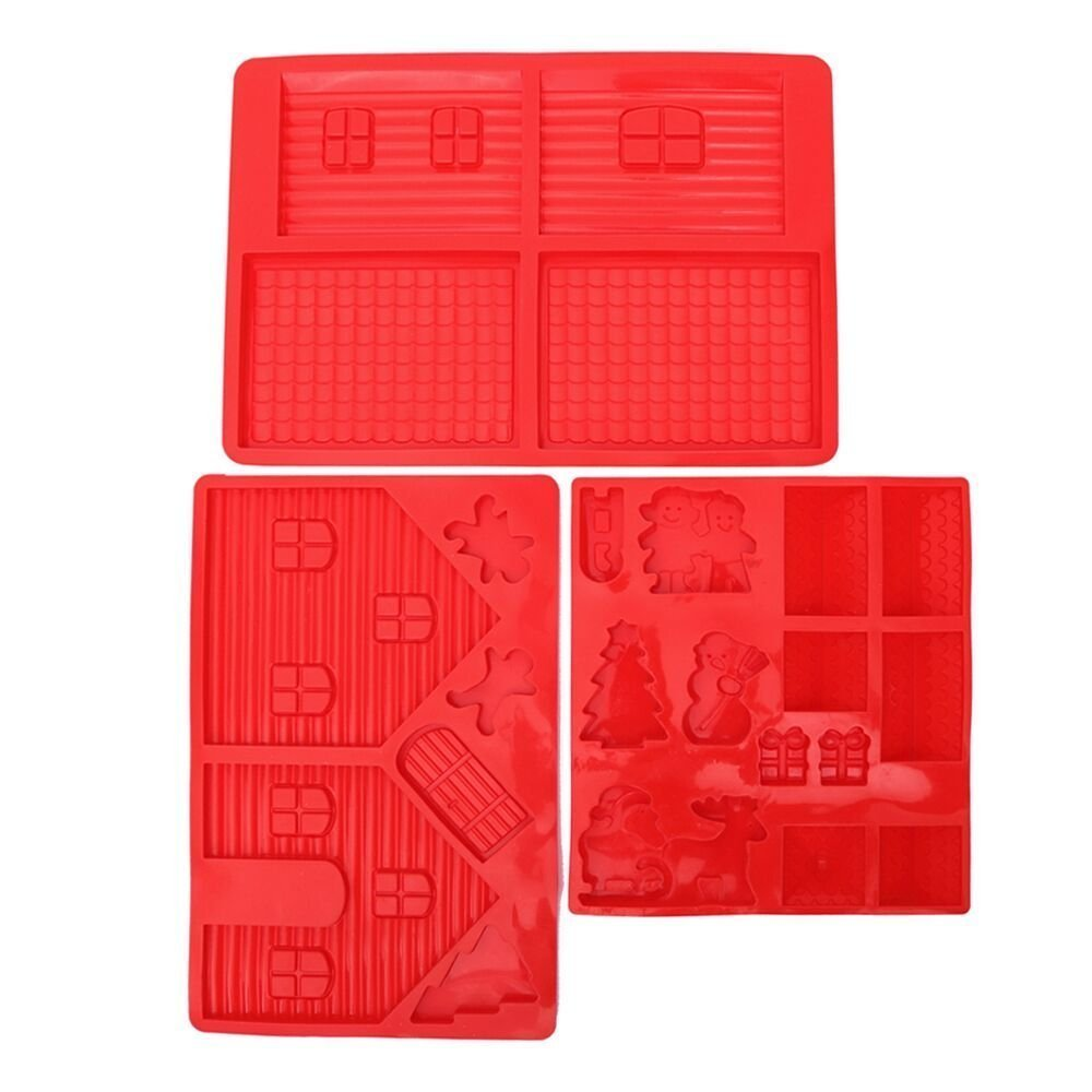 Gingerbread House Silicone Mold Kit - Includes 3 Molds to Create Gingerbread House, Snowman, Tree, Reindeer, Sleigh, Santa Claus, Present - 3 Piece Set - Red - 14 x 10 x 0.5 inches by Juvale