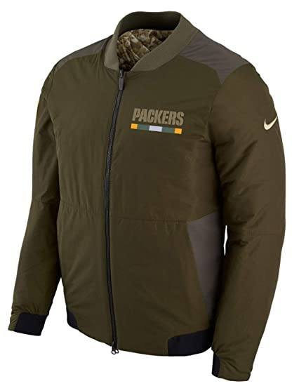 7e1336f32 Green Bay Packers NFL Salute to Service Men s Reversible Bomber Jacket ( Large)