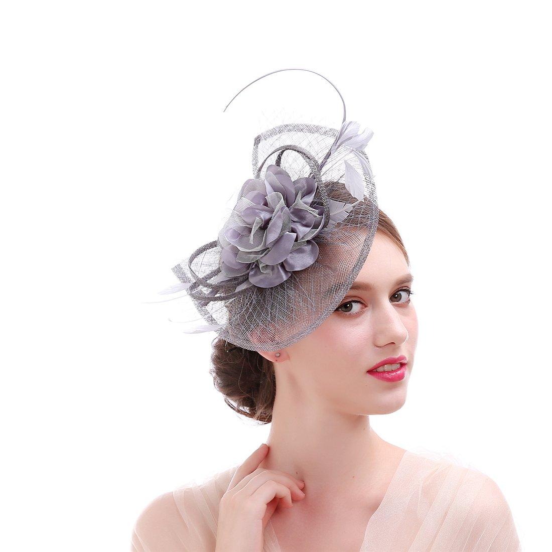 Sinamay Feather Fascinator Headband Flower Derby Hat for Women