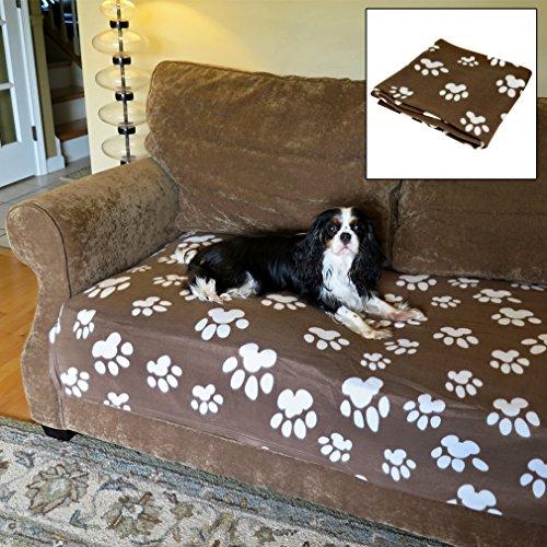 Evelots Sofa Blanket-Pet Paw-Cat/Dog-Fleece-Soft-Large-46 Inch x 36 Inch-Coffee