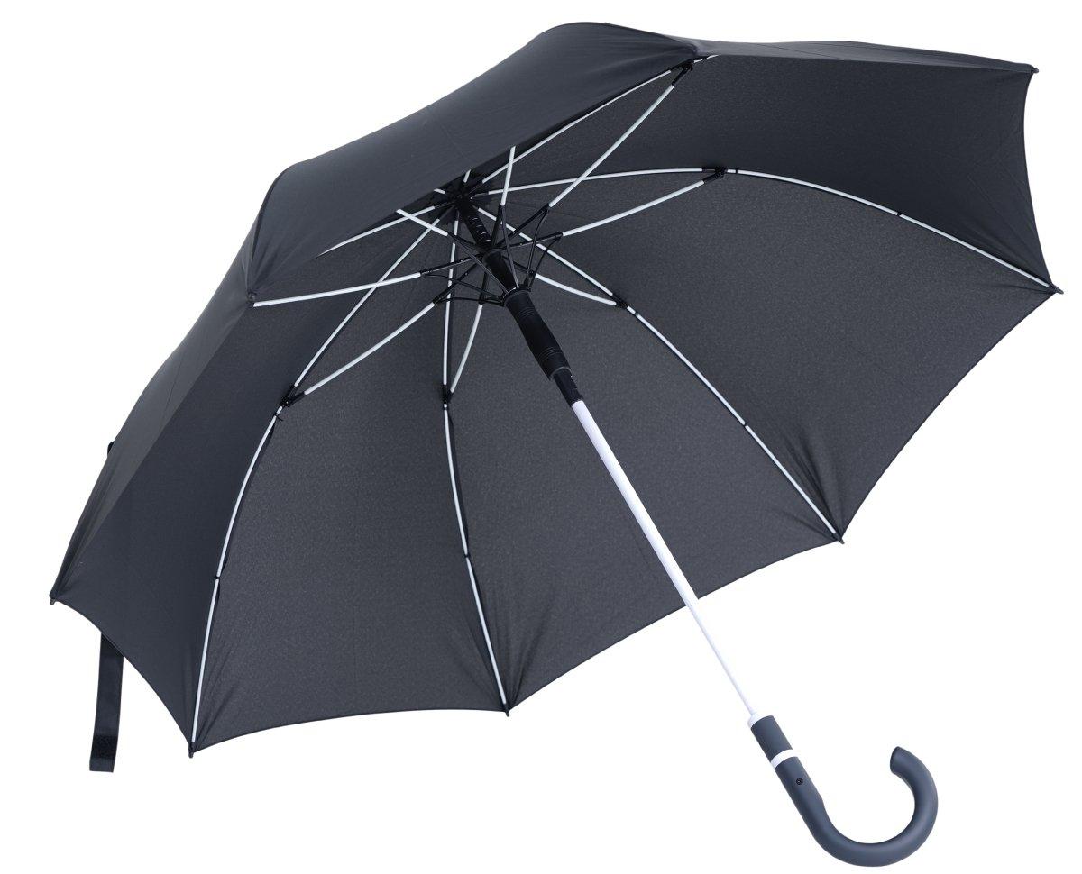 vanVerden Großer Automatik Regenschirm, Teflon Beschichtung, Windsicher, leicht und extra stabil aus Fiberglas / 112cm Durchmesser, 90cm Länge, Farbe:Anthracite/Euroblue 90cm Länge R001-Blue