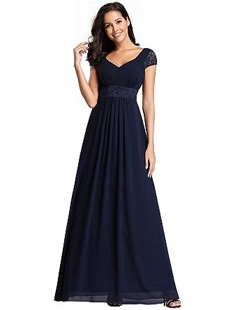 pretty nice 3b70c c361d Ever-Pretty Vestito da Sera Donna Lungo V Collo Elastico Posteriore Stile  Impero 07673