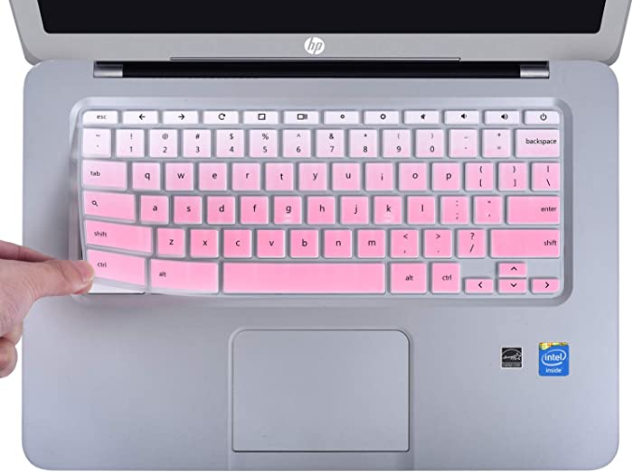 CaseBuy Ultra Thin Keyboard Cover Compatible with HP 14 inch Chromebook/HP Chromebook 14-db Series/HP Chromebook 14-ca Series/HP Chromebook 14-ak Series/HP Chromebook 14 G2 G3 G4 G5, Ombre Pink