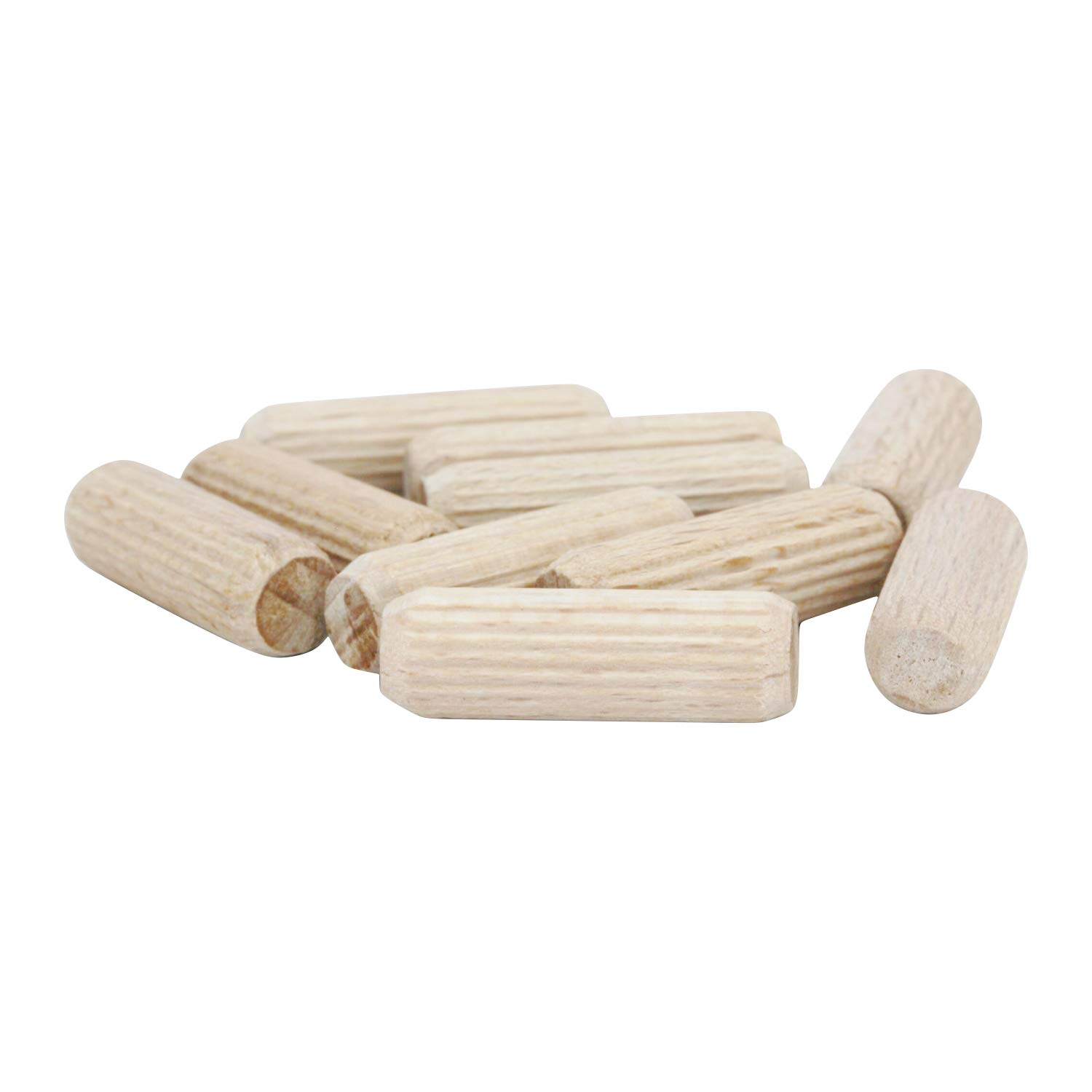 500 Pack Fluted 1'' x 5/16'' (8mm) Straight Wooden Dowel Pin Rods Grooved DOW516-1