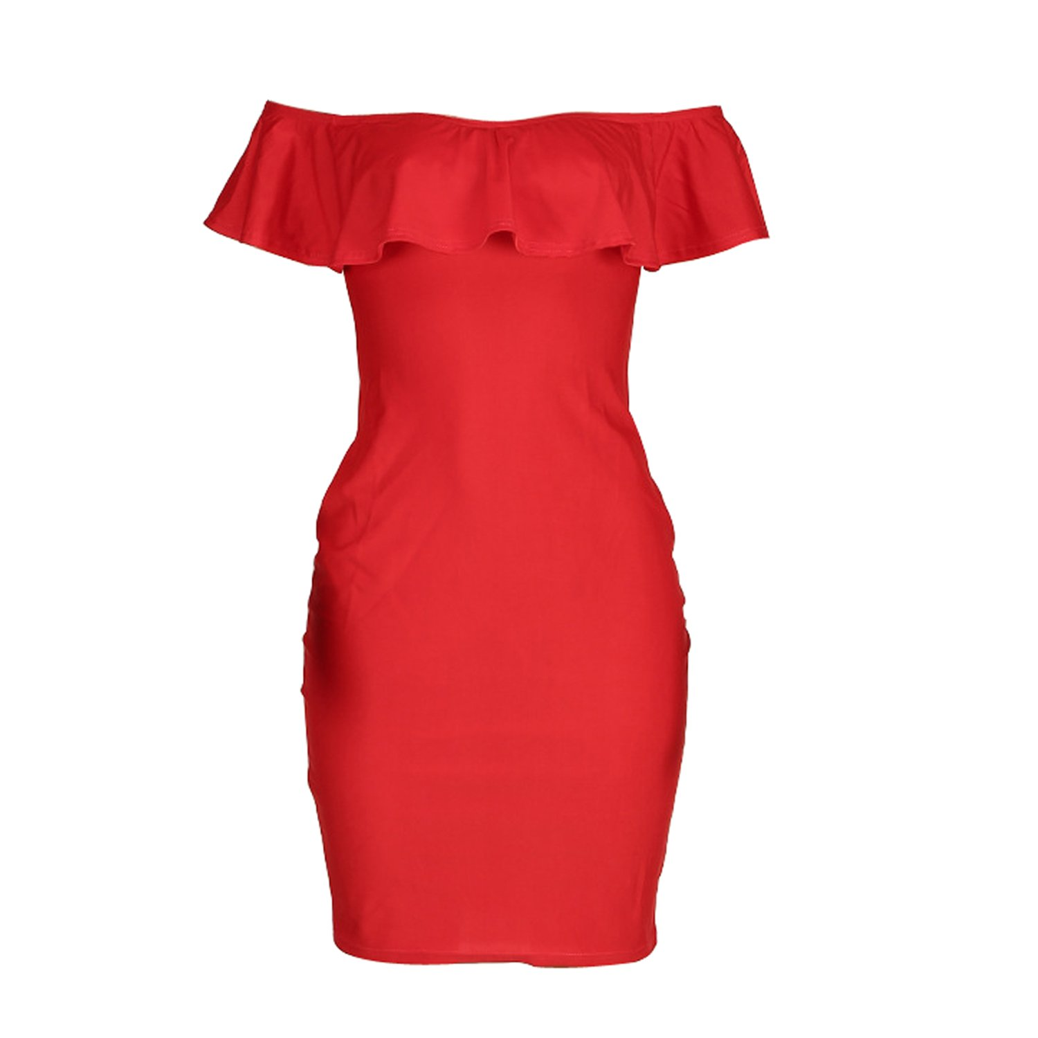 Fashion Dresses for Womens Party One Off Shoulder Ruffle Chest Bodycon Midi Dress (M, Red) at Amazon Womens Clothing store: