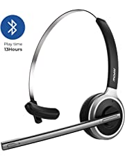 Mpow V4.1 Bluetooth Headset, Over the Head Wireless Telephone Headset with Microphone, Noise Canceling Truck Driver Headset for Cell Phone, 13Hrs Talk Time for office, Call Center, Voip