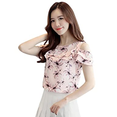 465f95cd4fed2 Soly Tech Women Cold Shoulder Tops Floral Printed Chiffon Shirts Short  Sleeve Work Blouse at Amazon Women's Clothing store: