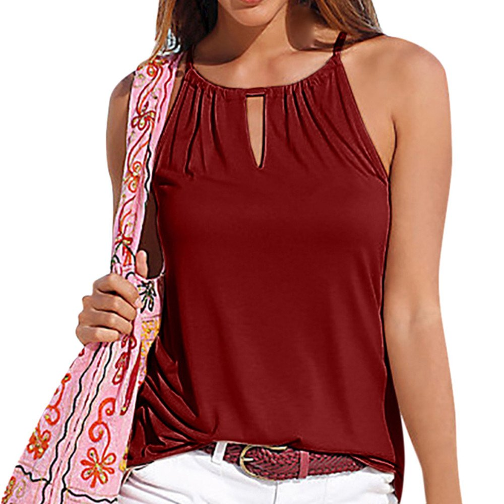 Soft Camisoles for Womens Strappy Fashion Sleeveless Vest Tops Halter Shirt Vest Blouse Casual Tank Tops Wine Red