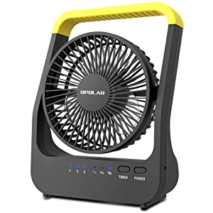 OPOLAR D-Cell Battery Operated Desk Fan with Timer, Portable Camping Cooling Fan with Strong Airflow, 4 D Batteries (Not Included) or USB Powered, 180° Rotation & 3 Speeds, for Home Office Outdoor