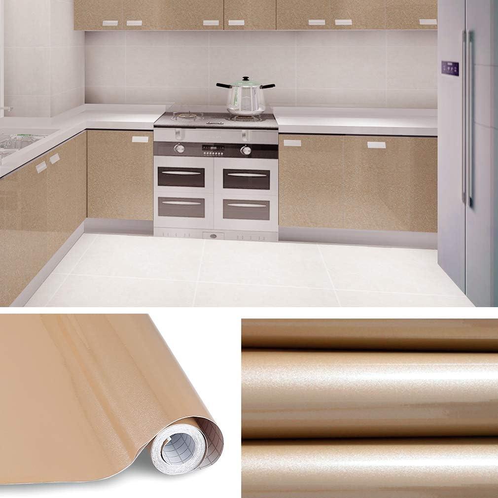 Kinlo - Papel pintado adhesivo de PVC para armario de cocina (estilo moderno, 5 x 0,61 m), pvc, dorado, (100M) EU: Amazon.es: Hogar