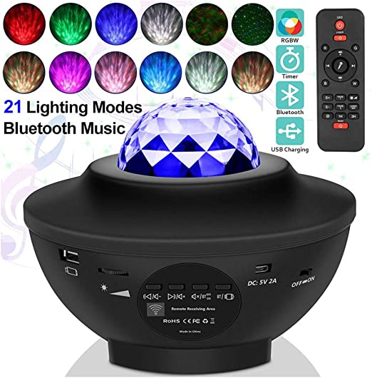 LED Night Light Music Starry Water Wave Projector con 21 Modos De ...