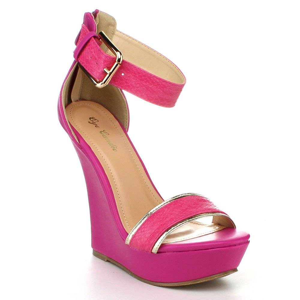 EYE CANDIE Womens Citygal-503 Fashion Wedge Sandals B00K2PXTFG 6.5 B(M) US|Fuchsia