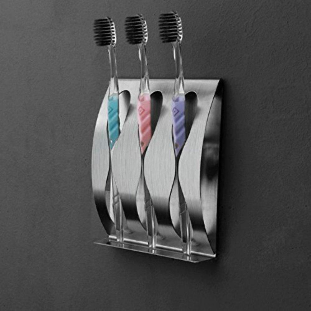 Argento flintronic Multifunzione Portaspazzolino Acciaio inossidabile Supporto Spazzolino Dente Portaspazzole Set