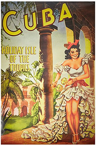 Poster Vintage Reproduction Travel Cuba - Holiday Isle of th
