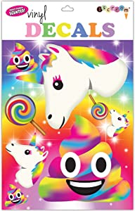 iscream Rainbow Unicorn Emojis Sheet of 8 Repositionable Vinyl Cling Decals
