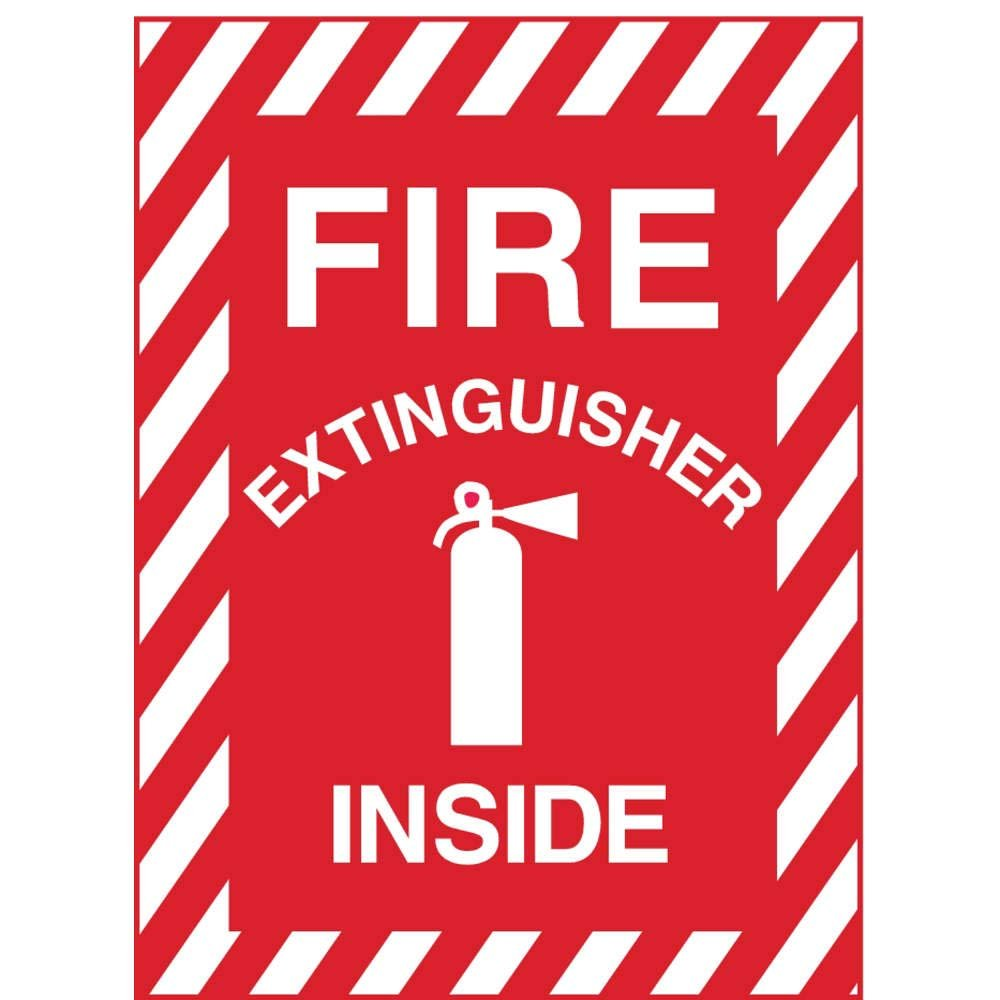 Recycled Plastic Fire Extinguisher Inside with Picto 14 Height x 10 Width Glow in Dark White on Red ZING 2890G Zing Safety Sign
