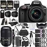 Nikon D3400 DSLR Camera with 18-55mm Lens (Black) + Nikon AF-S DX NIKKOR 55-300mm f/4.5-5.6G ED VR Lens + Battery + Charger + 32GB + Remote + Card Reader + Tripod + HDMI + Case + Flash Bundle