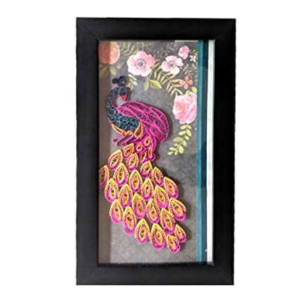 Buy Generic, Pink Peacock, Quilling Wall Hanging, Framed