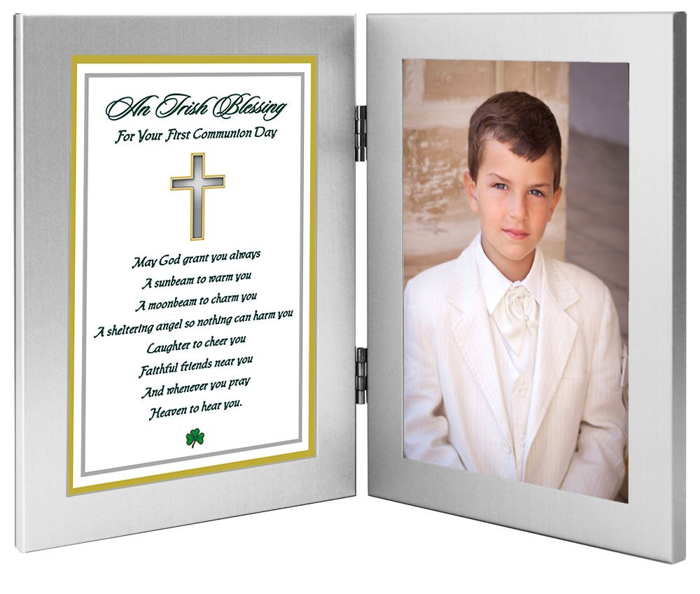 Add Photo Irish Blessing in Double Frame for Girl or Boy Poetry Gifts 1st Communion Gift