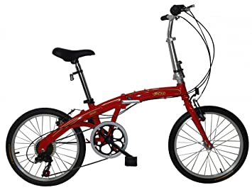 SCHIANO 20 pulgadas bicicleta plegable aluminio 7 velocidades Shimano Rojo, ...