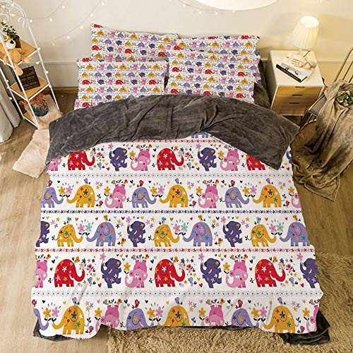 Comfortable Bed Sheet Set with Bedding Pillow Case Cover for Bed Width 6.6ft Pattern by,Kids,Dancing Floral Elephant Characters Smiling Faces Colorful Daisies Happy Singing Birds,Multicolor