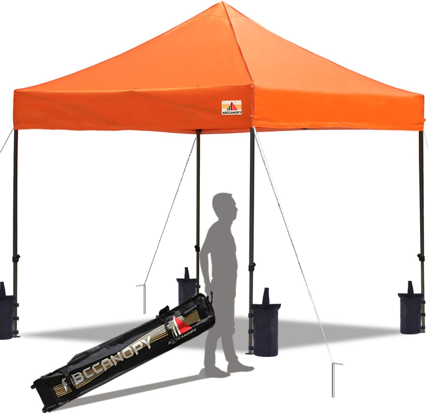 ABCCANOPY Pop up Canopy Tent Commercial Instant Shelter with Wheeled Carry Bag, Bonus 4 Canopy Sand Bags, 10×10 FT Orange