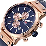 Mens Quartz Watches Chronograph,MINI FOCUS Classic Casual Waterproof Watch with Leather Strap Date Display Rose Golden