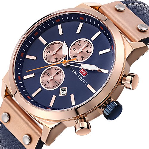 Mens Quartz Watches Chronograph,MINI FOCUS Classic Casual Waterproof Watch with Leather Strap Date Display Rose Golden by MINI FOCUS