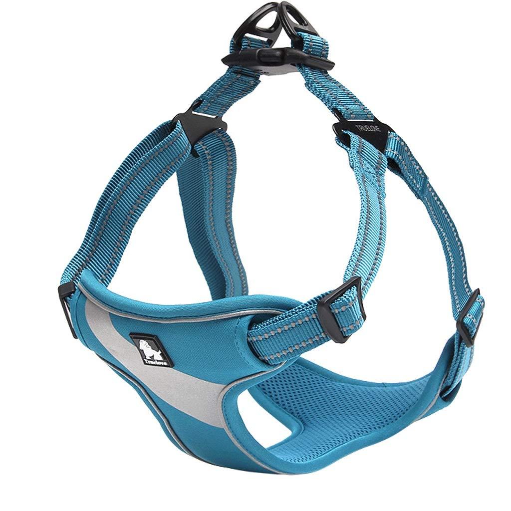 bluee L bluee L Pet Chest Strap Dog Leash Large Dog Leash Dog Strap Dog Vest Dog Chain (color   bluee, Size   L)