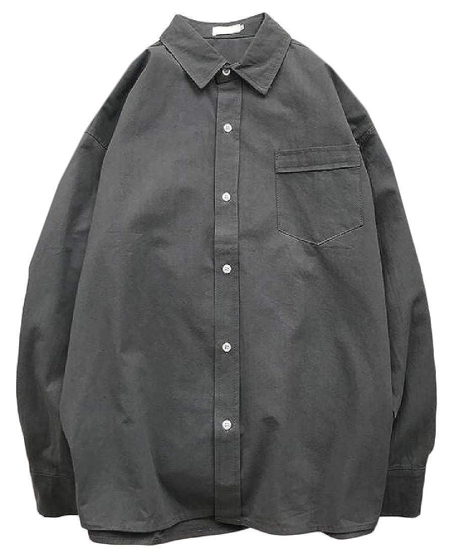 Joe Wenko Mens High Low Plus Size Basic Lapel Neck Pocket Button Down Shirts