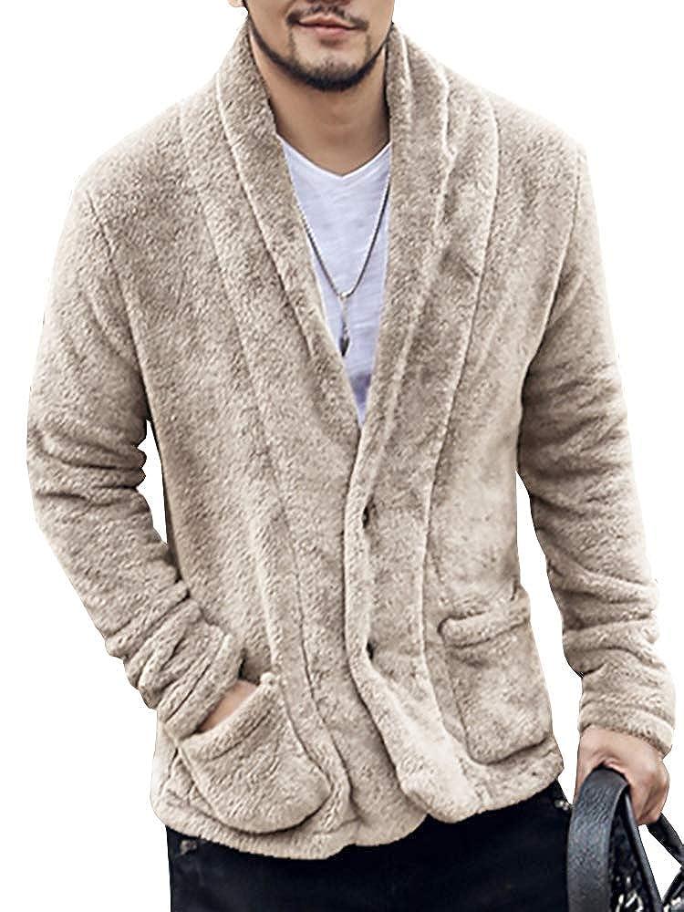LAICIGO Men's Sherpa Fleece Shawl Collar Button Down Cardigan Winter Lightweight Jackets with Pockets