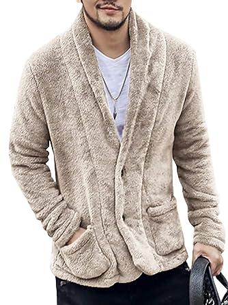 07e68e9fa1e LAICIGO Men s Sherpa Fleece Shawl Collar Button Down Cardigan Winter  Lightweight Jackets with Pockets
