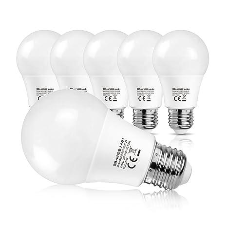 SHINE HAI Bombillas LED E27 A60, Equivalente a 60w, 8W A60 800LM, Blanco cálido 2700K, No Regulable, 6 Unidades