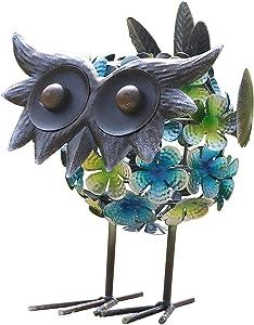 GDF Metal Solar Owl-Garden Statue Owl Figurine-Lawn Ornaments-Indoor Outdoor Decorations,Garden Decor for Patio Yard Lawn,Ornaments Gift,7X 9 Inch