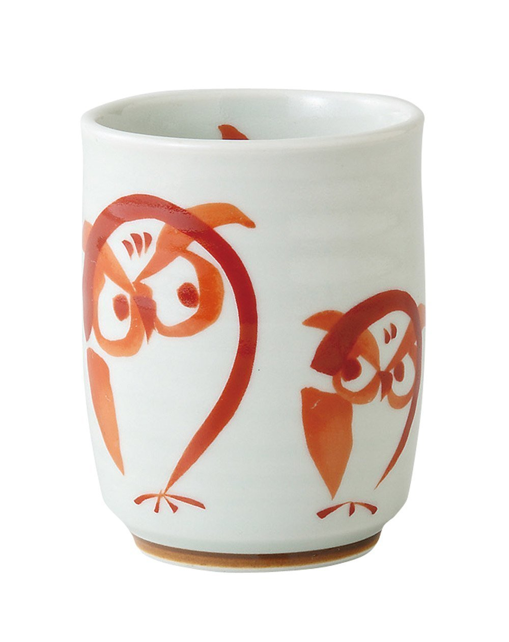 Japanese Teacup Yunomi Red Owl Size S 69074 From Japan