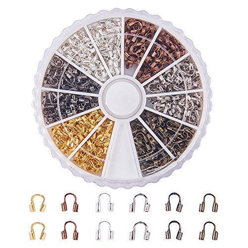 PandaHall Elite About 540 Pcs Brass Wire Guardian Wire Cable Protector 5x4x1mm for Jewelry Making 6 Colors