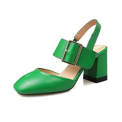 ae3aca4b56 Kailan Elegante Mulheres Sandálias Lindas Sandálias de Salto Quadrado Dedo  Do Pé Quadrado Preto Bege Verde Mulher Sapatos Tamanho EUA 3.5-9   Amazon.co.uk  ...