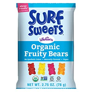 Surf Sweets Organic Fruity Bears, Non GMO Project Verified, Gluten Free, Nut-Free, Vegan & No Artificial Colors or Flavors, 2.75 oz (Pack of 12)
