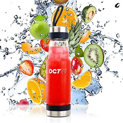 Price comparison product image Oct17 Tea Infuser Glass Water Bottle - Hot and Cold Fruit Drink Containers,  Extra Strong Stainless Steel,  Portable Sport Travel Bottles - 370ml