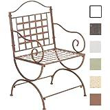 CLP Eisenstuhl LOTTA im Jugendstil   Metallstuhl mit Armlehnen   Antiker handgefertigter Gartenstuhl aus Metall   In verschiedenen Farben erhältlich Antik Braun
