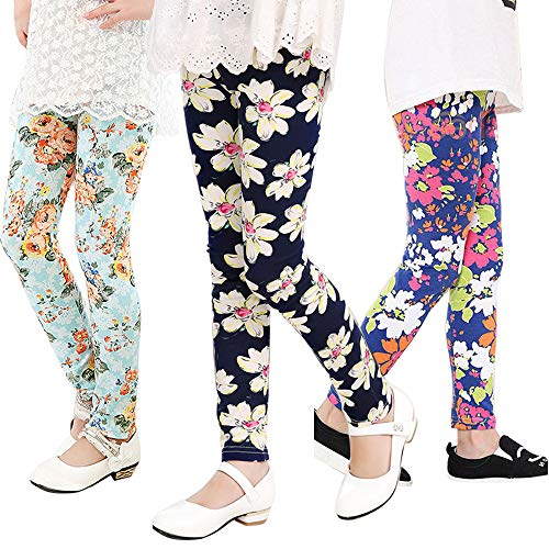 Grils Toddler Leggings Kids Stretchy Pants 3 Pack Printing Flower Classic Leggings 2-13Y (Style 3, ()