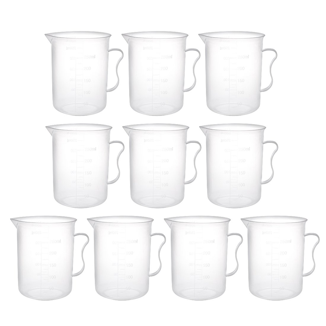uxcell Laboratory Clear White PP Measuring Cup Handled Cup