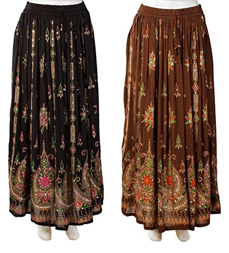 [해외]JOTW 스팽글 & amp; 인디언 롱 스커트 2 팩 /JOTW 2 Pack of Indian Long Skirts with Sequins & Embroidered Designs (IND#9603)