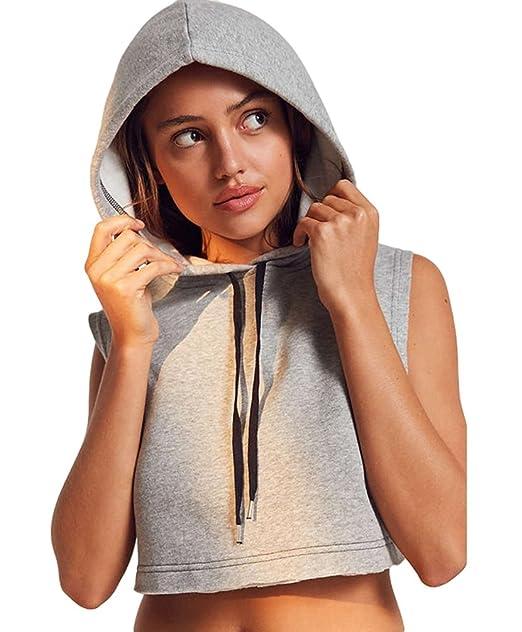 NiSeng Mujer Sin Mangas Sudaderas con Capucha Mode Crop Top Blusa Fitness Sudaderas Pullover Gris L: Amazon.es: Ropa y accesorios