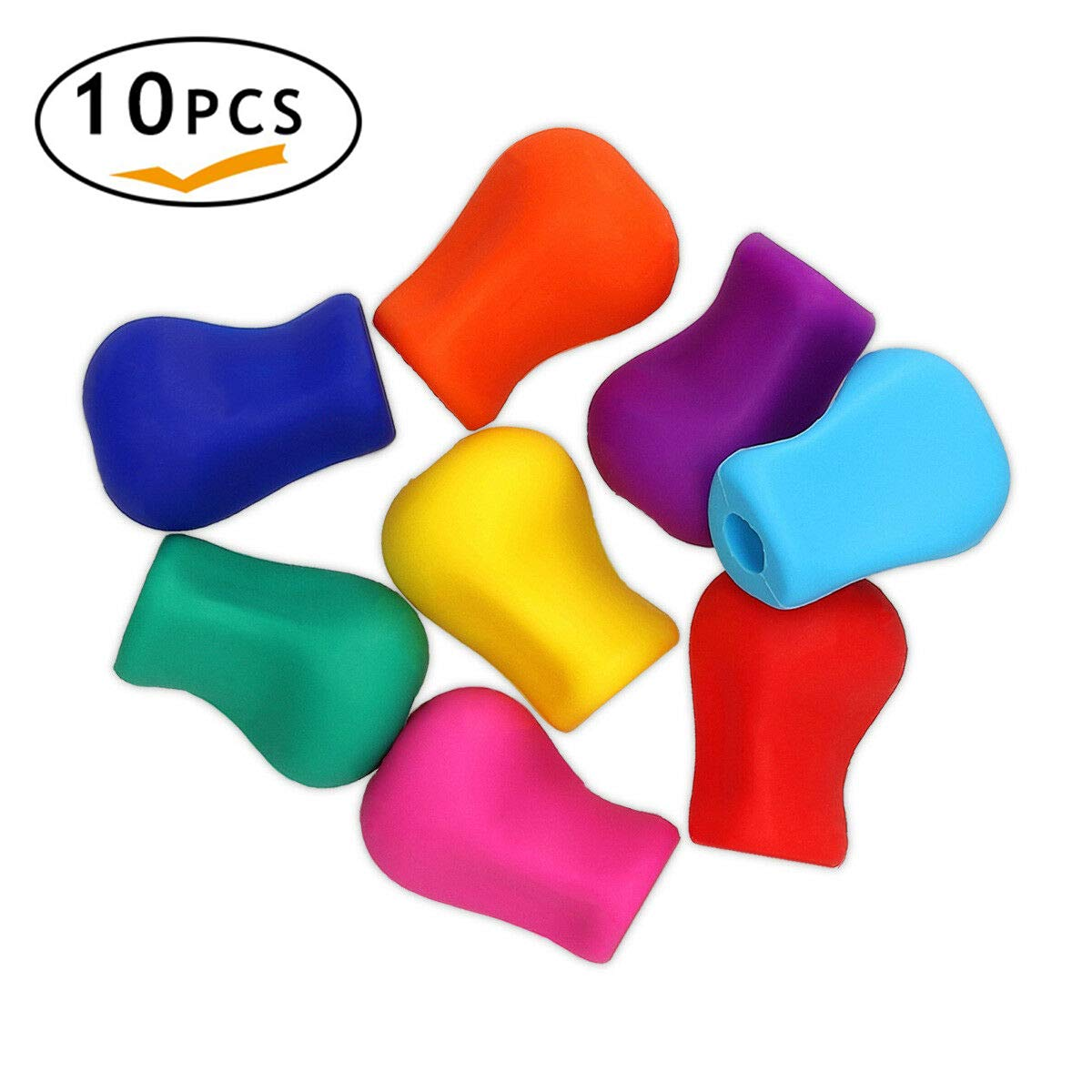 Pencil Grips,Set of 10 Jingleer Pencil and Pen Grips for Children and Adults, Pencil Finger Grips Holder Writing Correction Tool Handwring Aid for Left Handed and Right Handed Users