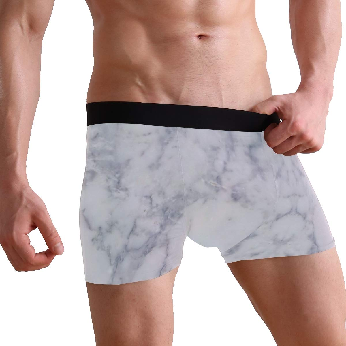 Charlley Lee Mens Soft Breathable Abstract Marble Underwear Boxer Briefs