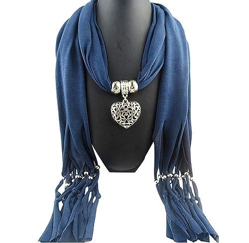 Ularma Moda Bufandas Dama de invierno corazón piedra preciosa collar bufanda borla caliente de mujeres