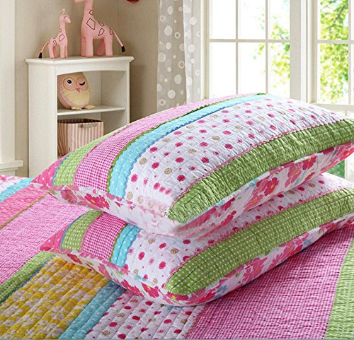 Bedding Set Pink Dot Striped Floral Bedspread Quilt Sets for Girl Kids Children Cotton