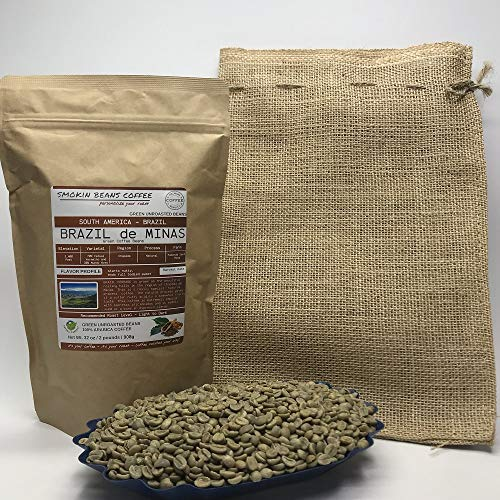 2 Pounds - South American - Brazilian - Unroasted Arabica Green Coffee Beans - Grown In Region Chapada - Altitude 2400 Feet - Catuai, Vermelho - Drying/Milling Process Is Natural - Includes Burlap Bag